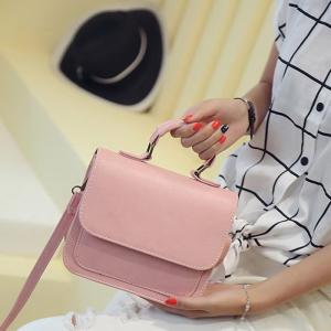 Flap PU Leather Crossbody Bag - PINK HORIZONTAL