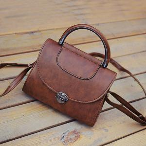Push Lock Metallic Handle Crossbody Bag - Deep Brown