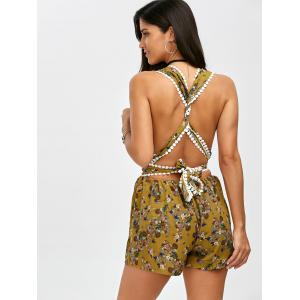Self Tie Floral Open Back Romper - LIGHT YELLOW S