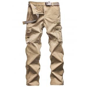 Zippered Multi Pockets Straight Cargo Pants
