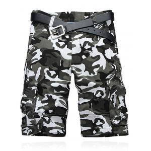 Camouflage Pattern Straight Legs Cargo Shorts - Gray White Camouflage - 36
