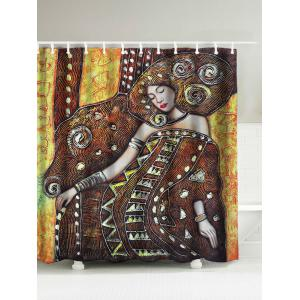 Queen Oil Painting Shower Curtain - Coffee - 180*180cm