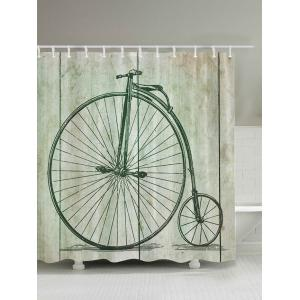 Penny Farthing Bicycle Print Shower Curtain - Light Green - 200*180cm