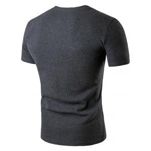 Artificial Leather Patched Henley T-Shirt -