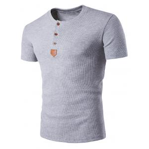 Artificial Leather Patched Henley T-Shirt