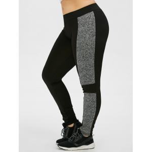Plus Size Colorblock Tight Workout Leggings - Black - Xl