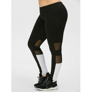 Plus Size Colorblock Mesh Panel Sports Leggings - Black - 4xl