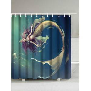 Underwater Mermaid Waterproof Shower Curtain - Blue - 150*180cm