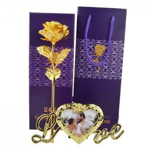 Plated Artificial Rose Flower with Photo Frame Holder - GOLDEN