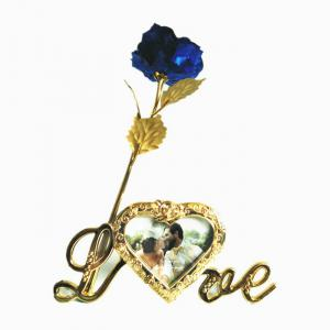 Plated Artificial Rose Flower with Photo Frame Holder - Blue
