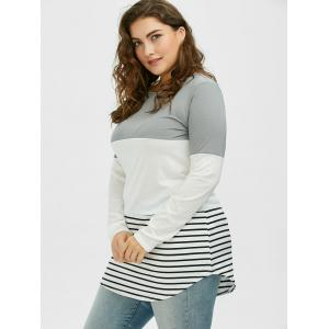 Color Block Stripe Plus Size Top - GRAY 2XL