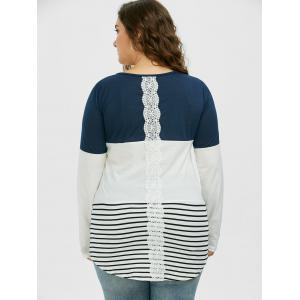 Color Block Stripe Plus Size Top - CADETBLUE XL