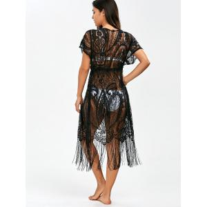 Lace Long Fringe Sheer Kimono Cover Up -