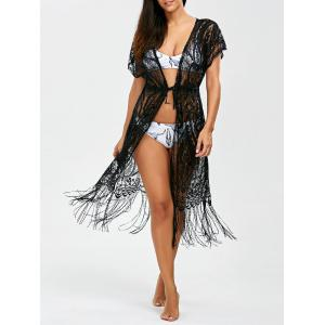 Lace Long Fringe Sheer Kimono Cover Up
