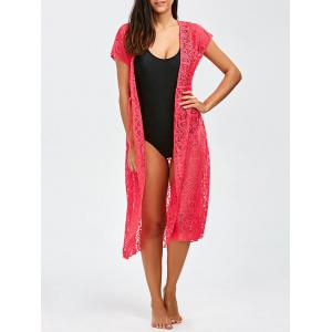 Mesh Beach Kimono  Robe Cover-Up Dress - Pink - Xl