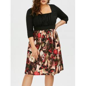 Plus Size Square Neck Butterfly Printed A Line Dress