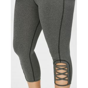 Plus Size Side Criss Cross Cropped Leggings - Gris 2XL