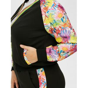 Plus Size Floral Zipper Jacket With Joggers -