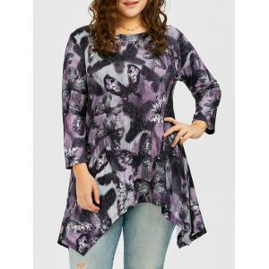 Long Plus Size Butterfly Pattern Asymmetric T-Shirt