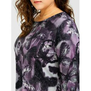 Long Plus Size Butterfly Pattern Asymmetric T-Shirt - DEEP PURPLE 2XL