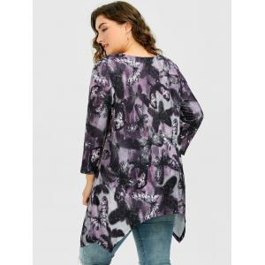 Long Plus Size Butterfly Pattern Asymmetric T-Shirt - DEEP PURPLE 4XL