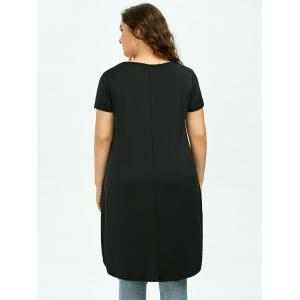 Long Plus Size High Low T-Shirt - BLACK 5XL