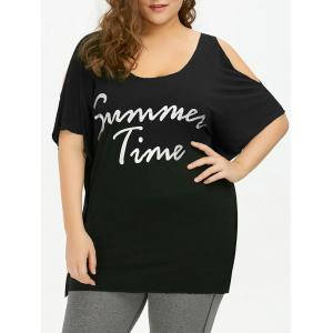 Plus Size Cold Shoulder Summer Time Letter T-Shirt