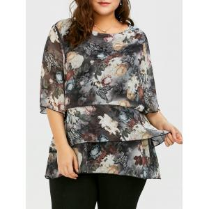 Plus Size Butterfly Ink Painting Layered Chiffon Blouse - Gray - 4xl