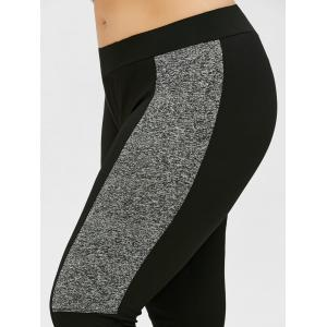 Plus Size Colorblock Tight Workout Leggings - BLACK XL