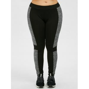 Plus Size Colorblock Tight Workout Leggings -