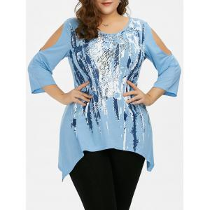 Plus Size Cold Shoulder Asymmetrical T-Shirt