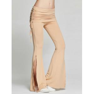 High Slit Flare Bell Bottom Yoga Pants - KHAKI 2XL