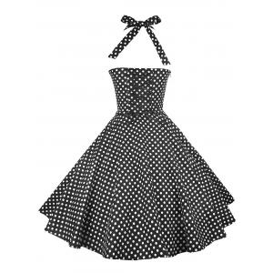 Vintage Halter Polka Dot Pin Up Dress - BLACK S