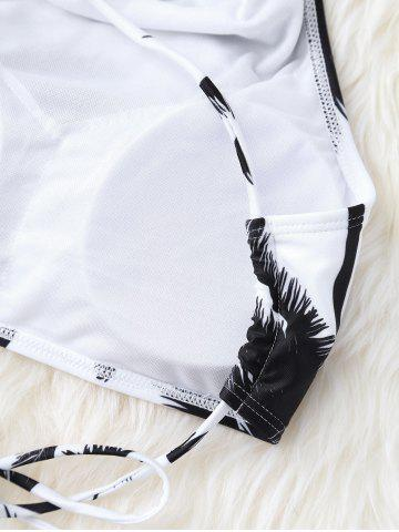 Affordable High Neck Palm Tree Push Up Bikini Bathing Suit - S WHITE AND BLACK Mobile