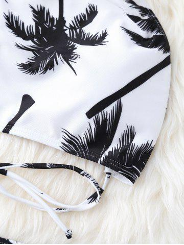Affordable High Neck Palm Tree Push Up Bikini Bathing Suit - L WHITE AND BLACK Mobile