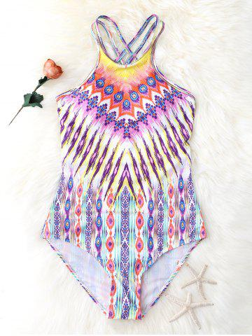 Fashion Criss Back One Piece Graphic Swimsuit - XL COLORMIX Mobile