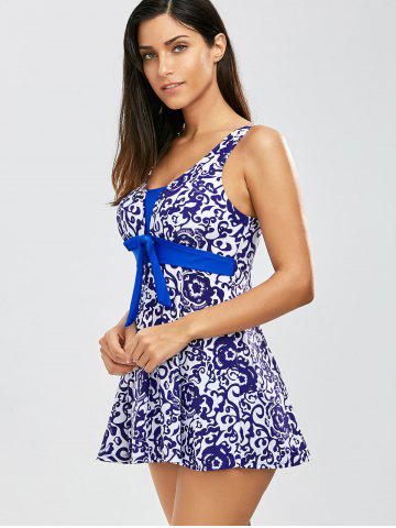 Latest Padded Floral One Piece Swimwear - XL BLUE Mobile