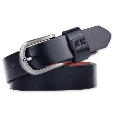 Trendy Plain Wide Belt with Pin Buckle - BLACK  Mobile