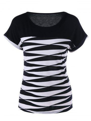 Discount Cuffed Sleeve Graphic T-Shirt