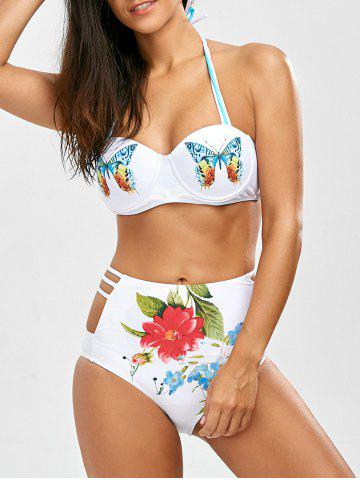 Latest Cut Out High Waisted Bikini With Halter Top WHITE L