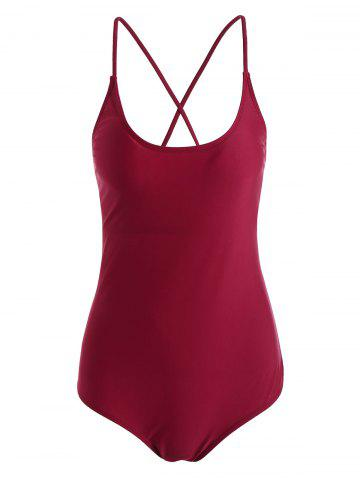 Online String Lace Up One Piece Swimsuit WINE RED M