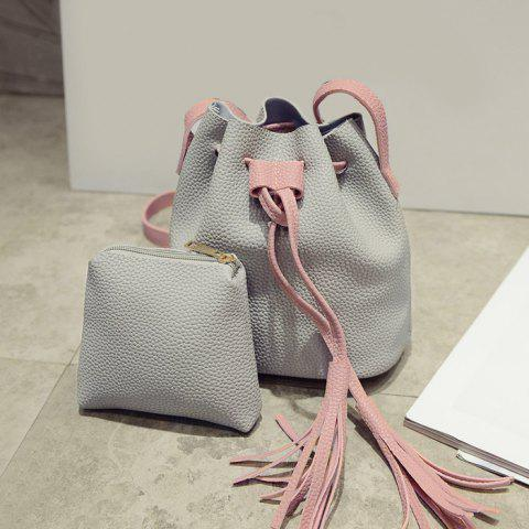 Color Block Drawstring Bucket Bag with Pouch Bag - Gray