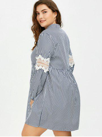 Fashion Long Sleeve Plus Size Striped Smock Casual Shirt Dress - 5XL GRAY Mobile