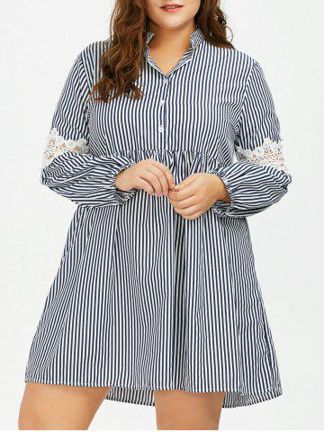 Latest Long Sleeve Plus Size Striped Smock Casual Shirt Dress GRAY 5XL