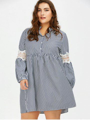 Affordable Long Sleeve Plus Size Striped Smock Casual Shirt Dress - 5XL GRAY Mobile