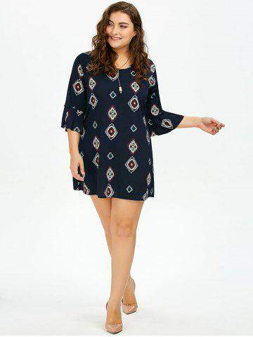 Discount Plus Size Printed Bell Sleeve Chiffon Dress - 5XL DEEP BLUE Mobile