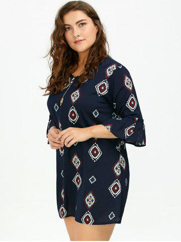 Outfit Plus Size Printed Bell Sleeve Chiffon Dress - 5XL DEEP BLUE Mobile