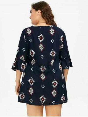 Chic Plus Size Printed Bell Sleeve Chiffon Dress - 5XL DEEP BLUE Mobile