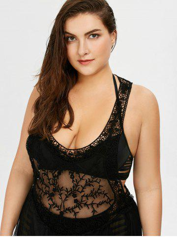 Fashion Lace See Through Plus Size Cover Ups Bathing Suits - ONE SIZE BLACK Mobile