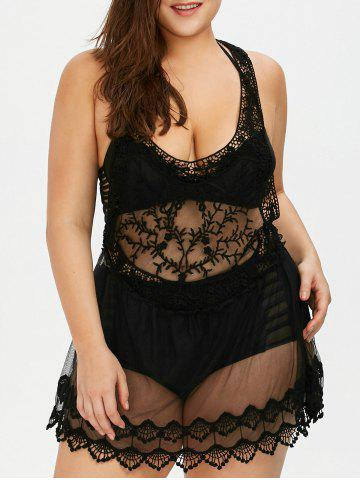 Black One Size Lace See Through Plus Size Cover Ups